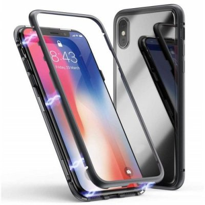 Magnetic Adsorption Tempered Glass Metal Case for iPhone XS Max - BLACK