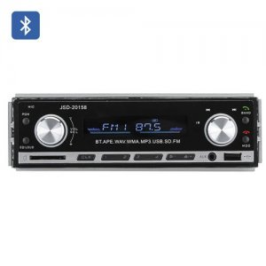 1 DIN Bluetooth Car Stereo - Aux USB + SD Card Support, MP3, WAV, WMA, FM, 4x 45W Speaker Support