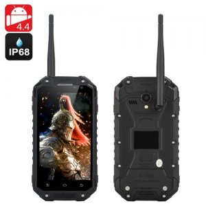 IP68 Android Smartphone 'Warrior Phone+'- 1.7GHz CPU, 2GB RAM, 4.7 Inch 720p Screen, GPS, NFC, Walkie Talkie (Black)