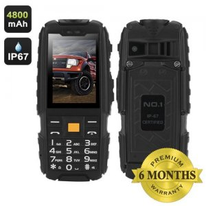 NO.1 A9 GSM Phone - 4800mAh Battery, 2.4 Inch 240x320 Screen, FM Radio, Flashlight, Dual SIM, IP67 Waterproof Rating (Black)