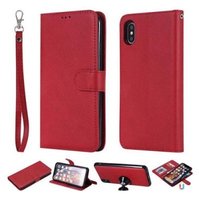 XS Max Case 2 in 1 Magnetic Detachable Flip Folio Case Cover for Iphone XS Max - RED