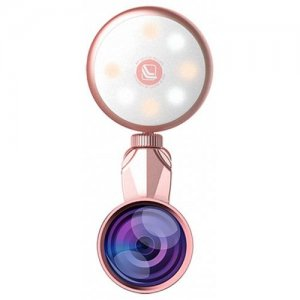 Selfie Ring Light with 4K Wide Angle + 185 Degree Fish Eye Lens - ROSE