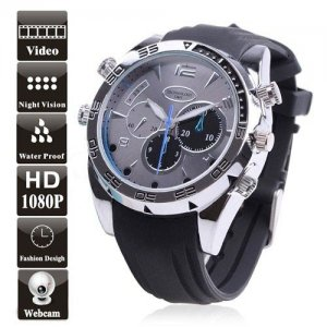 Elegant 8GB Waterproof 1080P Sport Watch DVR with Night Vision + PC Camera