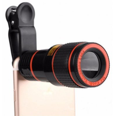 12x Zoom Optical Telescope Portable Mobile Phone Telephoto Camera Lens and Clip for iPhone - Samsung - Huawei - Xiaomi - BLACK