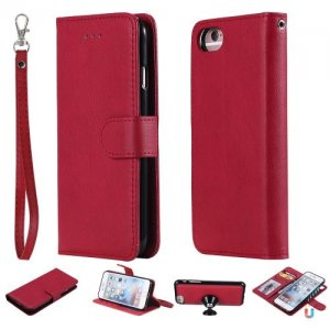 For Iphone 8 Case Magnetic 2 in 1 Detachable Wallet Cover For IPhone 7 - RED