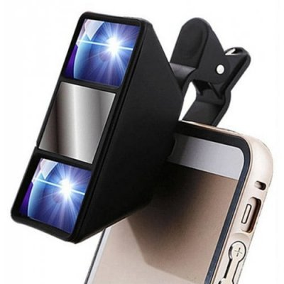 Mini 3D Photograph Stereoscopic Camera Lens Clip for Mobile - BLACK