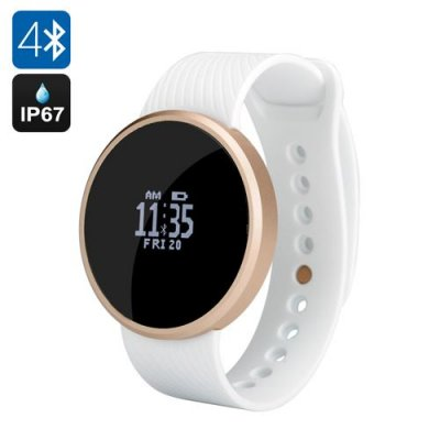 Bluetooth Smart Sports Watch - OLED Sreen, Pedometer, Remote Shutter, Call Reminder, IP67, Android + iOS (White)