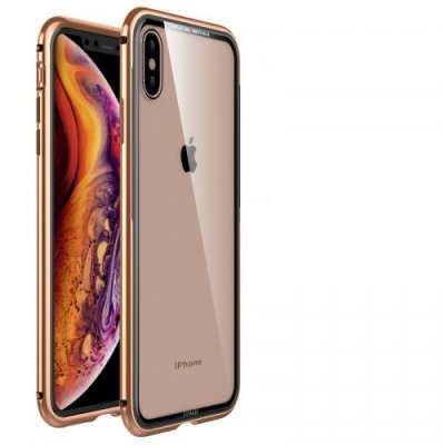 For Apple XS Max First Love Series Metal Glass Mobile Shell - GOLD