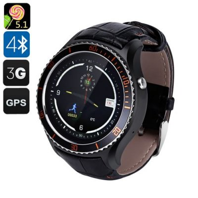 IQI I2 Android 11.0 Smart Watch - Quad Core CPU, Wi-Fi, Bluetooth 4.0, Play Store, Pedometer, Heart Rate Monitor, GPS (Black)