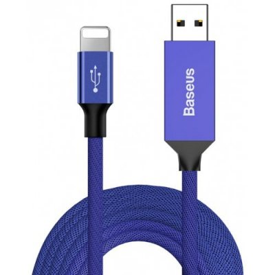 Baseus CALYW - M01 8 Pin 2A Fast Charging Data Cable 500cm - BLUE