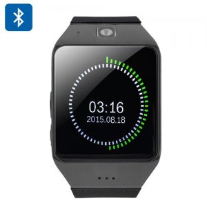Uhappy UW1 Bluetooth Smartwatch - 1.54 Inch Screen, GSM, NFC, SD Card, Pedometer, Sedentary Notice, Sleep Monitor (Black)