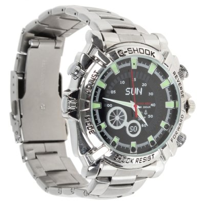 32GB Waterproof 1080P IR Stainless Steel Spy Watch DVR Support Night Vision