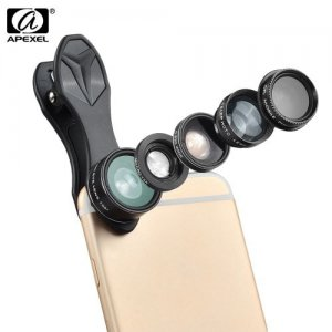 APEXEL APL - DG5 5 in 1 Camera Phone Lens Kit - BLACK