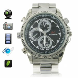 16GB 720 x 480P Stainless Steel Spy Camera Watch with Hidden Camera