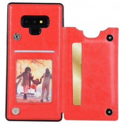 Card Holder with Stand Back Cover Solid PU Leather Case for Samsung Note 9 - RED