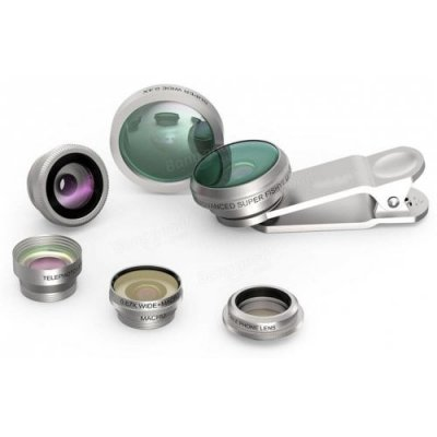 Universal 8 in 1 Phone Lens Fisheye Wide Angle Macro Camera Lens Kit for Phone - SILVER