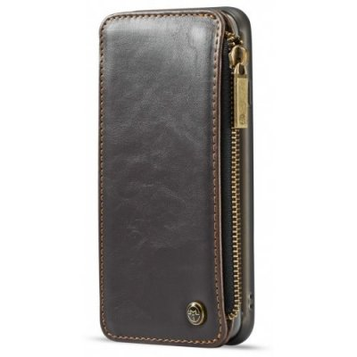 CaseMe Dachable 2 in 1 Business Zipper Leather Wallet Cover for iPhone 12 Pro - 6 - BROWN