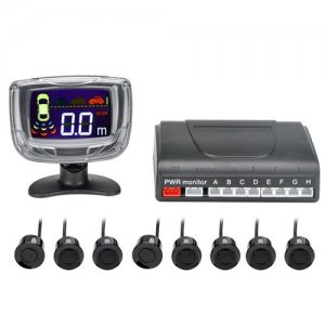 8 Ultrasonic Sensor Parking System - 2 Inch LCD Display, Audio Alert, 0.3 To 2.5M Detecting Distance