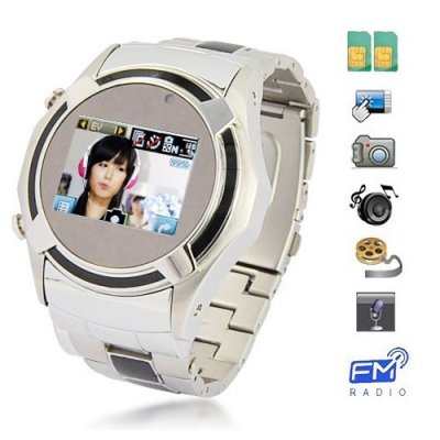 Dual SIM Card Stainless Steel Touch Screen Watch Phone + Wireless Transmission