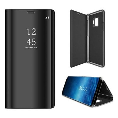 for Galaxy S9 Case Translucent View Mirror Flip Electroplate Stand - BLACK