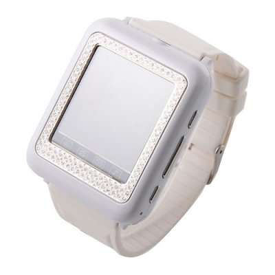 AK09+ Watch Phone with Diamonds Single SIM Card Camera FM Bluetooth 1.6 Inch Touch Screen- White & Silver