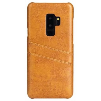Case Genuine Real Leather Retro Vintage Wallet Back Cover for Samsung S9 Plus - BRIGHT YELLOW