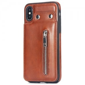 Retro Multifunctional Phone Case with Zipper for iPhone X - TIGER ORANGE