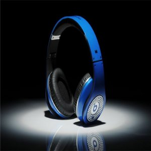 Beats By Dre Studio High Definition Powered Isolation Headphones Blue With White Diamond