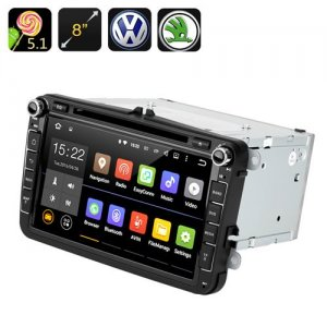 Android 9.1 Car DVD Player - GPS, Quad Core CPU, 8 Inch Touch Screen, CAN BUS, VW + Skoda Cars