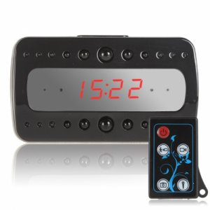 Full HD 1080P Remote Control Black Pearl RF Night Vision Hidden Spy Alarm Clock Camera