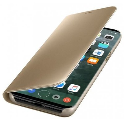 PU Leather Smart Clear View Flip Cover with Kickstand for iPhone 12 - 8 - GOLDEN