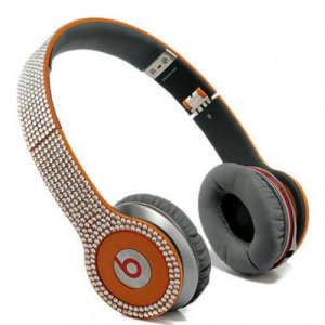 Beats By Dr Dre Solo HD studded diamond Headphones orange