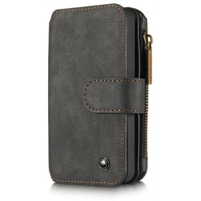 CaseMe for iPhone 5-5S-SE Premium PU Leather 2 in 1 Wallet Case with Kickstand 14 Card Holder and ID Slot - BLACK