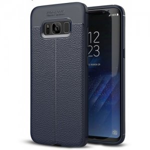 ASLING Lichee PU Leather TPU Phone Case for Samsung Galaxy S8 Plus - CADETBLUE