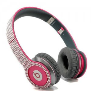Beats By Dr Dre Solo HD studded diamond Headphones Red