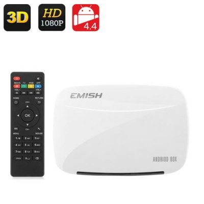 EMISH X700 Android TV Box - 1080P, Rock Chip 3128 Quad Core CPU, 3D Support, Kodi, Wi-Fi, DLNA, Android 9.1