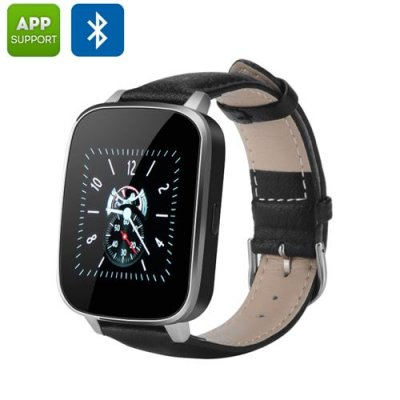 Bluetooth 4.0 Smart Watch - iOS + Android App, Call Answering, Notification, Heart Rate Sensor, Pedometer (Black)
