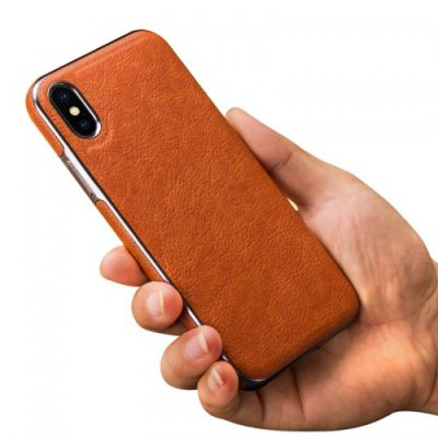 Premium PU Luxury Stylish Designer Fashion Leather Cover Case for iPhone XS MAX - BROWN