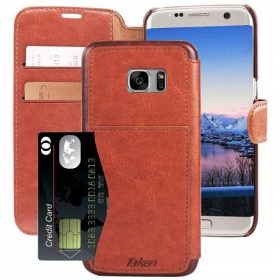 Leather Wallet Case with Cards Slot Metal Magnetic for Samsung Galaxy S7 Edge - MAHOGANY