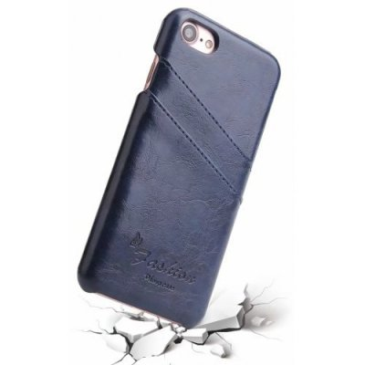 Real Leather Wallet Back Cover for iPhone 12- iPhone 12 Pro Case - DEEP BLUE