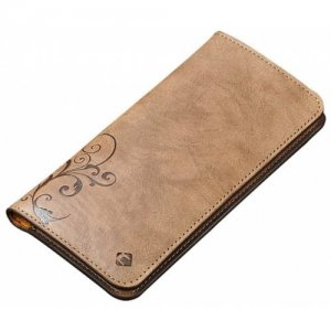 Cornmi Under 5.5 Inch Universal Leather Flip Wallet Pouch Phone Case for Iphone - LIGHT BROWN