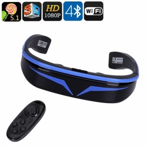 3D Smart Video Glasses - 98 Inch Virtual Display, 1080P, Google Play, Quad Core CPU, WiFi, Bluetooth 4.0, 128GB External Memory