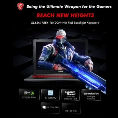 MSI GL62M 7REX-1642 Windows 10 Chinese Version 15.6-u201d 1920-u00d71080 Intel i5-7300HQ Quad Core 8GB+1TB WIFI BT HD Laptop - BLACK