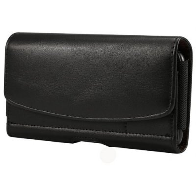 Horizontal PU Leather Case Belt Clip Bag 5.2 Inch Phone Cover with Card Holder - BLACK