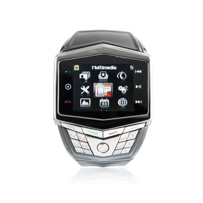 GD910 Quad Band Watch Phone 1.5 Inch Touch Screen Camera Bluetooth FM with Bluetooth Earphone - Black