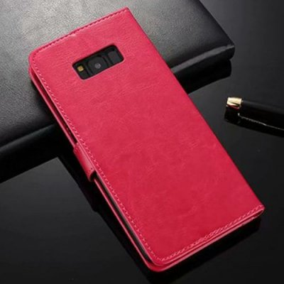 ASLING Mobile Phone Case Stand Wallet Credit Card Slot for Samsung Galaxy S12 Pro Max - ROSE RED