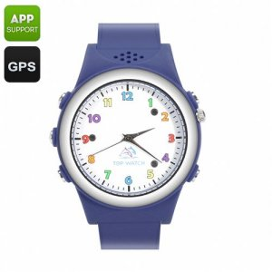Kids Watch Phone With GPS Tracker - SOS, Digital Fence, Family Number, White List, Wireless Charging Station (Blue)