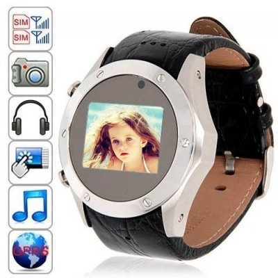 1.3 Inch OLED Touch Screen Leather Band Moblie Phone Watch with Dual SIM Card