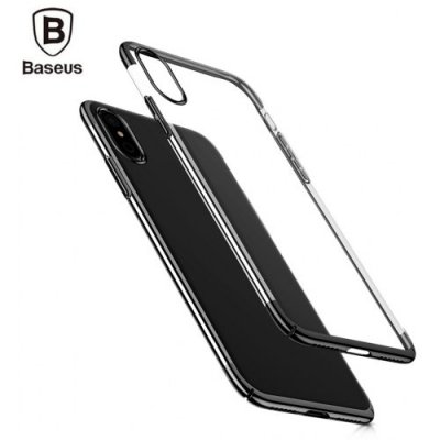 Baseus Glitter Case Ultra Slim PC Back Cover for iPhone X - BLACK