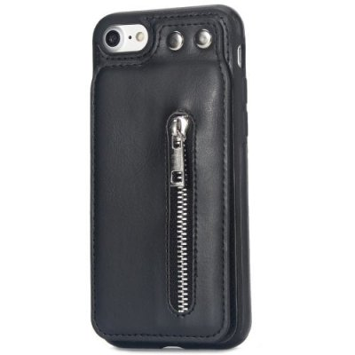 Retro Multifunctional Phone Case with Zipper for iPhone 12 - 8 - BLACK